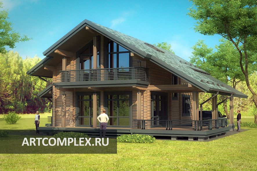 """Архитектурный проект современного дома из бруса """"Hansta"""""""