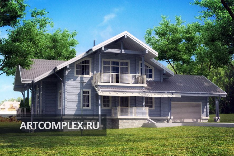 Проект дома с гаражом из бруса