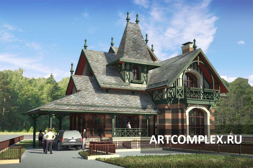 Архитектурный проект дома в средневековом стиле