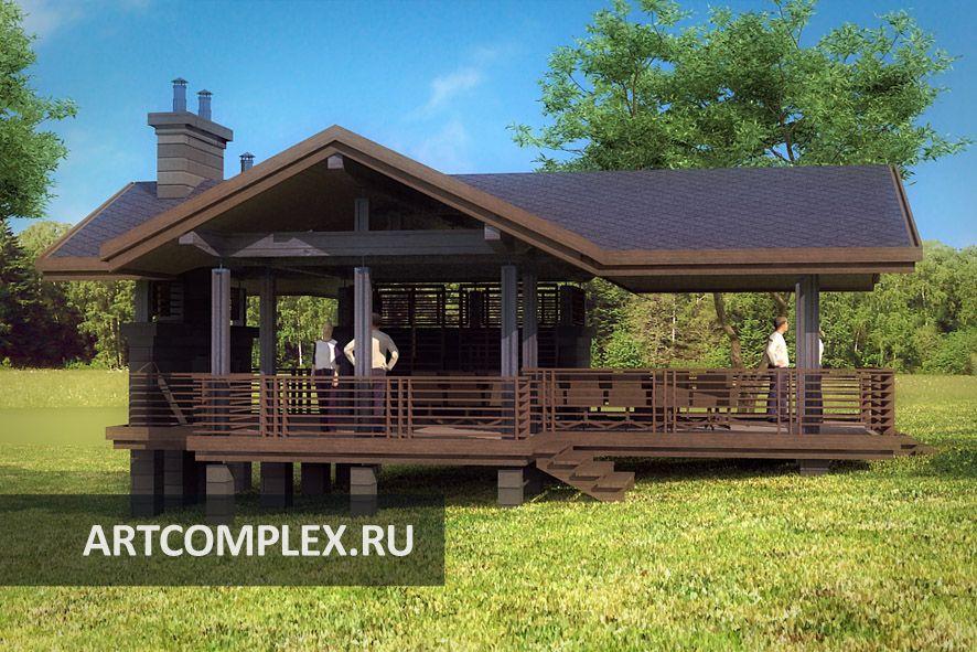 Архитектурный проект террасы с барбекю